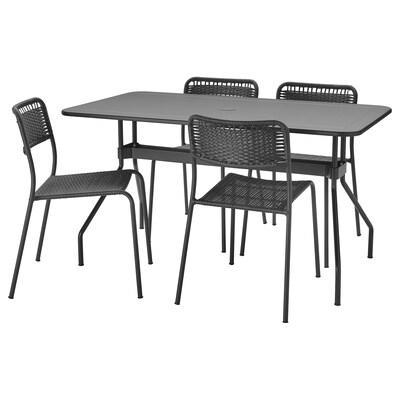 VIHOLMEN Bord + 4 stoler, utendørs, mørk grå/mørk grå