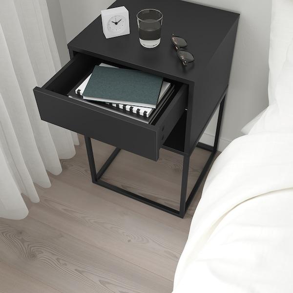 VIKHAMMER Nattbord, svart, 40x39 cm