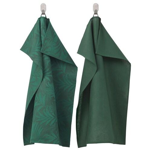VILDKAPRIFOL kjøkkenhåndkle grønn blader 70 cm 50 cm 2 stk.