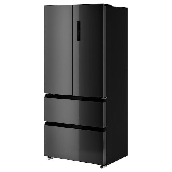 VINTERKALL Kjøleskap/fryser med dobbeltdør, IKEA 700 frittstående/svart rustfritt stål, 341/171 l