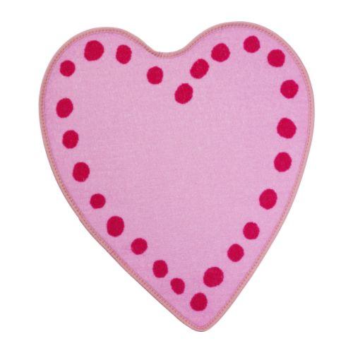 VITAMINER HJÄRTA Teppe rosa Lengde: 64 cm Bredde: 67 cm Luggtetthet: 205 g/m² Maks. lugghøyde: 3 mm