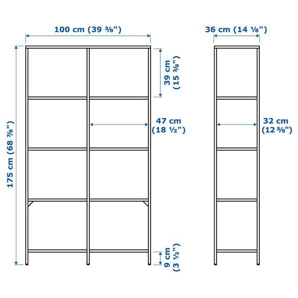 VITTSJÖ hylle hvit/glass 100 cm 36 cm 175 cm 15 kg