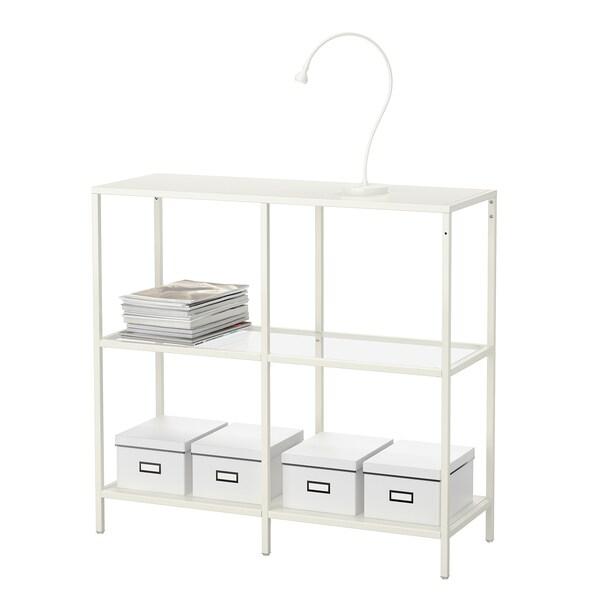 VITTSJÖ hylle hvit/glass 30 kg 100 cm 36 cm 93 cm 15 kg
