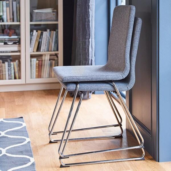 VOLFGANG Stol, forkrommet/Gunnared mellomgrå