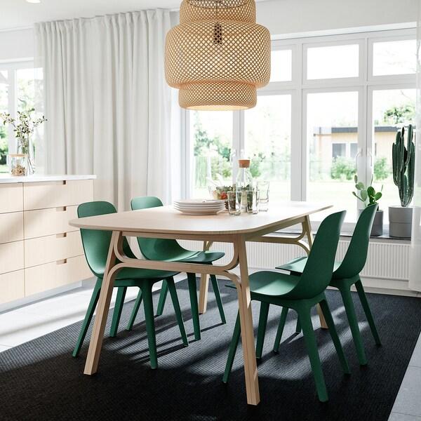 VOXLÖV / ODGER Bord og 4 stoler, bambus/grønn, 180x90 cm