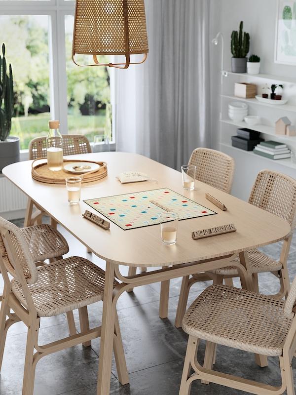 VOXLÖV Spisebord, lys bambus, 180x90 cm