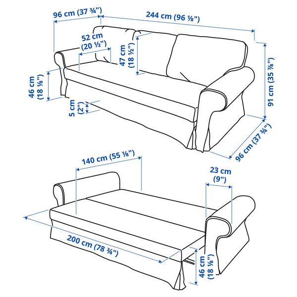 VRETSTORP 3-seters sovesofa, Remmarn lys grå