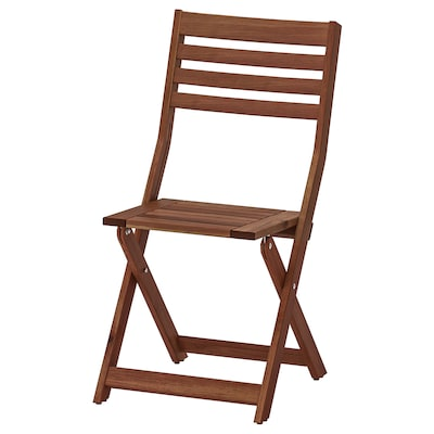 ÄPPLARÖ Chair, outdoor, foldable brown stained