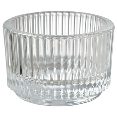 FINSMAK Tealight holder, clear glass, 3.5 cm