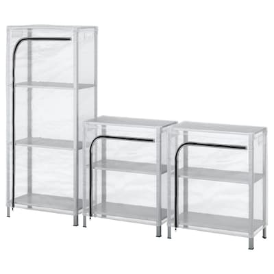 HYLLIS Shelving units with covers, clear, 180x27x74-140 cm