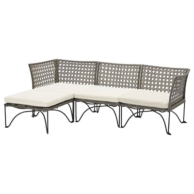 JUTHOLMEN 3-seat modular sofa, outdoor, dark gray/Kuddarna beige