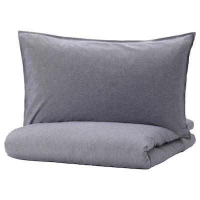 KOPPARBLAD Comforter cover and 2 pillowcases, dark blue, 240x220/50x80 cm