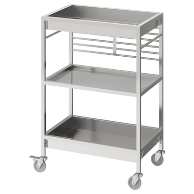 KUNGSFORS Kitchen cart, stainless steel, 60x40 cm