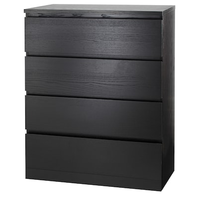MALM 4-drawer chest, black-brown, 80x100 cm