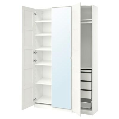 PAX / BERGSBO/VIKEDAL Wardrobe combination, white/mirror glass, 150x38x236 cm