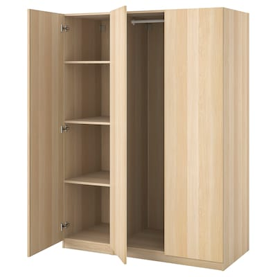 PAX / FORSAND Wardrobe combination, white stained oak effect, 150x60x201 cm