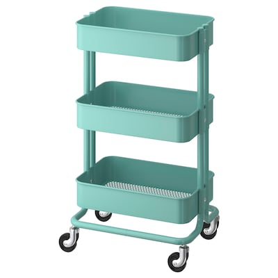 RÅSKOG Utility cart, turquoise, 35x45x78 cm