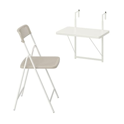 TORPARÖ Wall table & folding chair, outdoor, white/beige, 50 cm