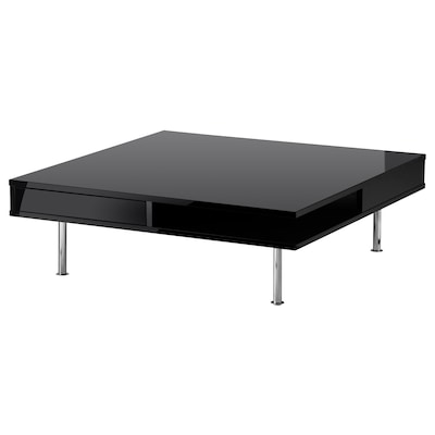TOFTERYD Table basse, brillant noir, 95x95 cm