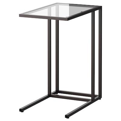 VITTSJÖ Table pour ordinateur portable, brun noir/verre, 35x65 cm