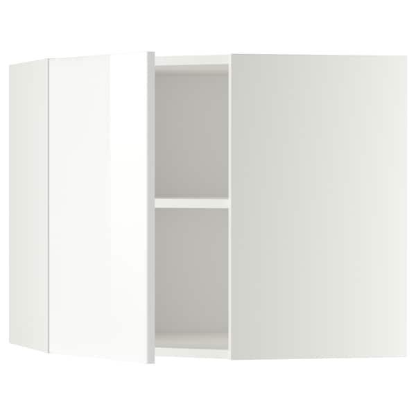 METOD Élément mural angle + tablettes, blanc/Ringhult blanc, 68x60 cm