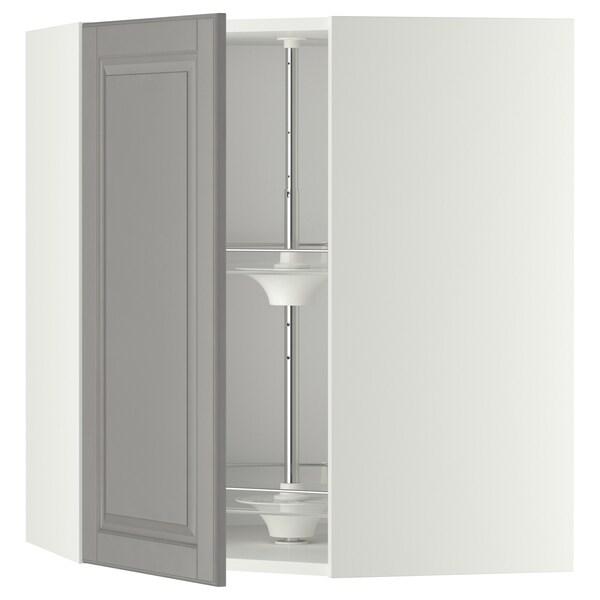 METOD Élément angle mural+rangement pivot, blanc/Bodbyn gris, 68x80 cm