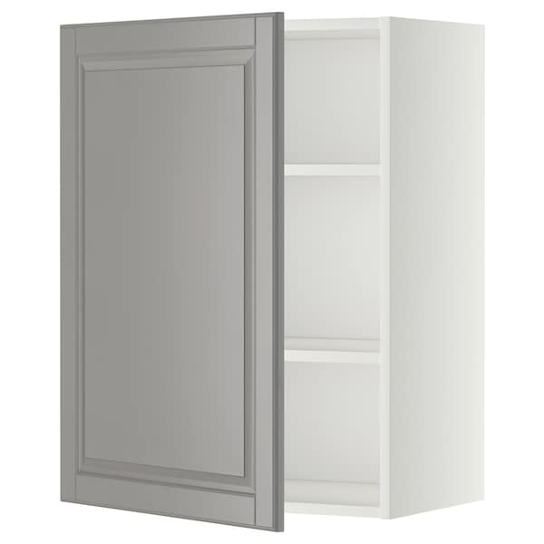 METOD Élément mural + tablettes, blanc/Bodbyn gris, 60x80 cm