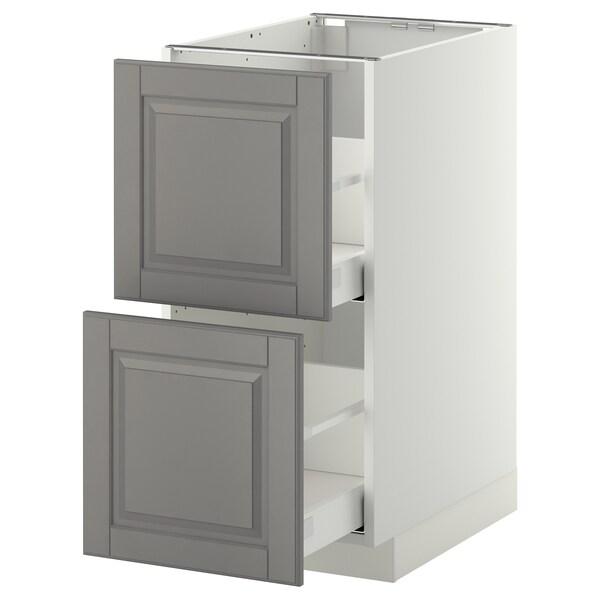 METOD Élément bas 2 faces/2 tiroirs hauts, blanc/Bodbyn gris, 40x60 cm