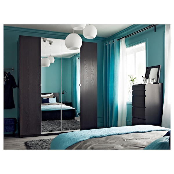 MALM Commode 6 tiroirs, brun noir/miroir, 40x123 cm