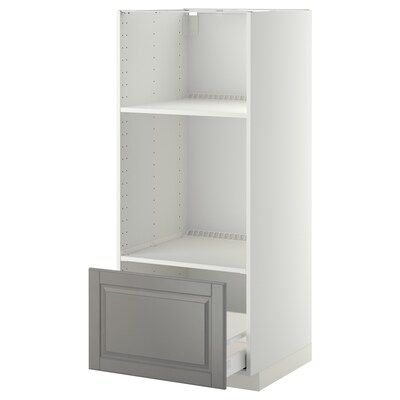 METOD Armoire four/micro-ondes + tiroir, blanc/Bodbyn gris, 60x60x140 cm