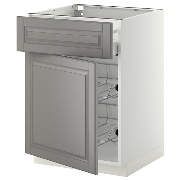 METOD / MAXIMERA Élément bas corbeille fil/tir/pte, blanc/Bodbyn gris, 60x60 cm