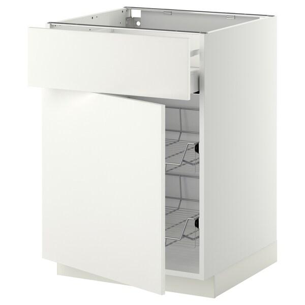 METOD / MAXIMERA Élt bas corb fil/tir/pte, blanc/Häggeby blanc, 60x60 cm