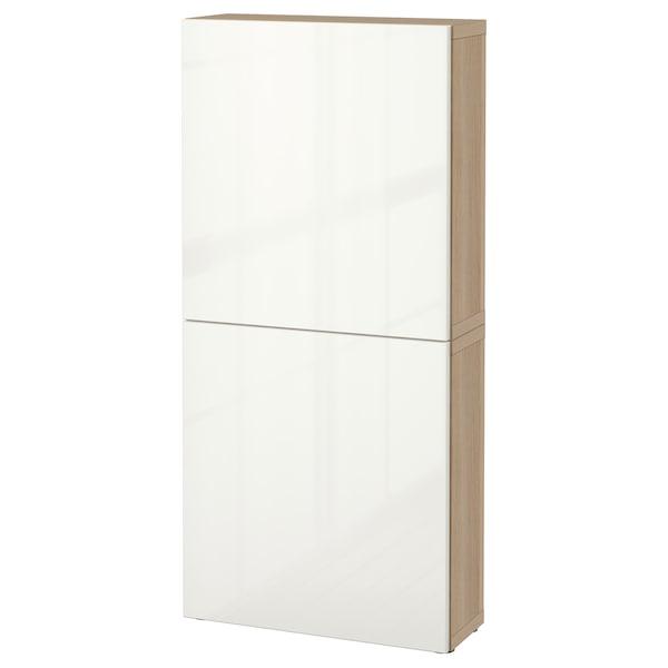 BESTÅ Élément mural 2 portes, effet chêne blanchi/Selsviken brillant/blanc, 60x22x128 cm