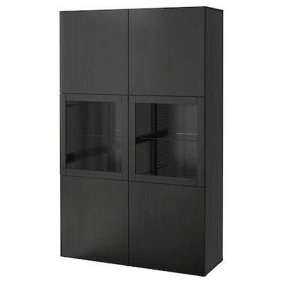 BESTÅ Combinaison rangement ptes vitrées, Lappviken/Sindvik brun noir verre transparent, 120x40x192 cm