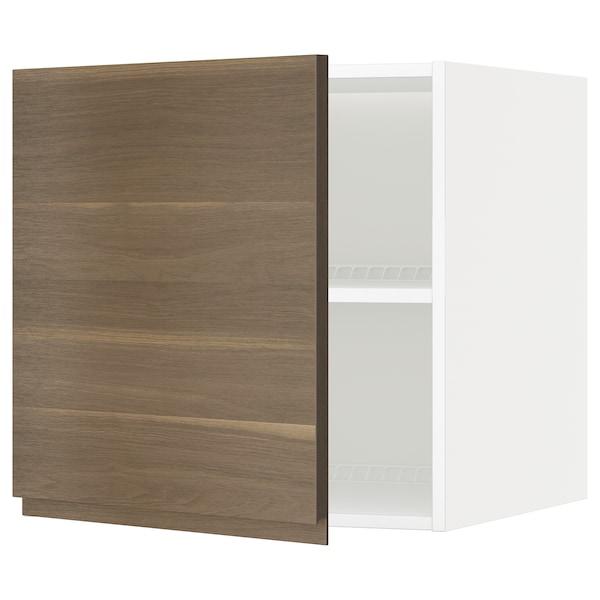 METOD Surmeuble réfr/cong, blanc/Voxtorp motif noyer, 60x60 cm