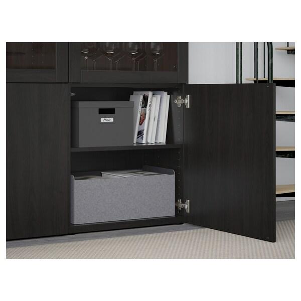 BESTÅ Combinaison rangement ptes vitrées, brun noir Lappviken/Sindvik brun noir verre transparent, 120x42x193 cm