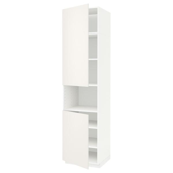 METOD Armoire micro-ondes+2ptes/tablette, blanc/Veddinge blanc, 60x60x240 cm