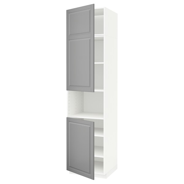 METOD Armoire micro-ondes+2ptes/tablette, blanc/Bodbyn gris, 60x60x240 cm