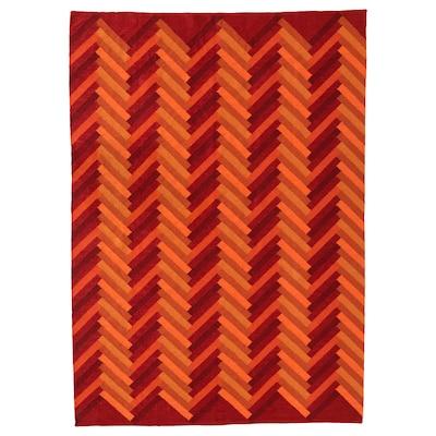 STOCKHOLM 2017 Tapis tissé à plat, fait main/motif en zigzag orange, 170x240 cm