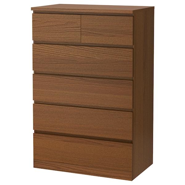 MALM Commode 6 tiroirs, teinté brun plaqué frêne, 80x123 cm
