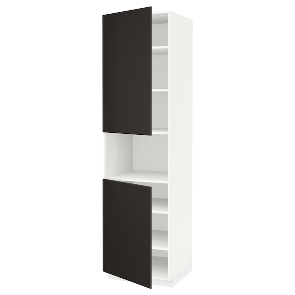 METOD Armoire micro-ondes+2ptes/tablette, blanc/Kungsbacka anthracite, 60x60x220 cm