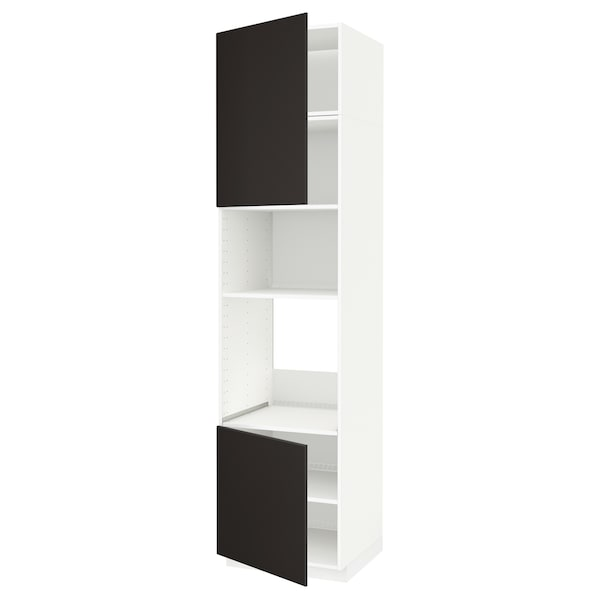 METOD Armoire four/micro-ondes 2portes/tb, blanc/Kungsbacka anthracite, 60x60x240 cm