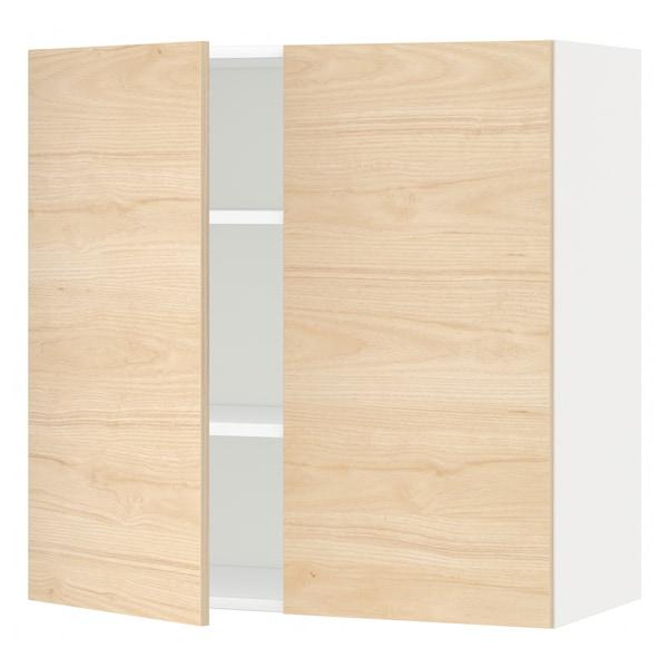 METOD Élément mural tablettes/2portes, blanc/Askersund effet frêne clair, 80x80 cm
