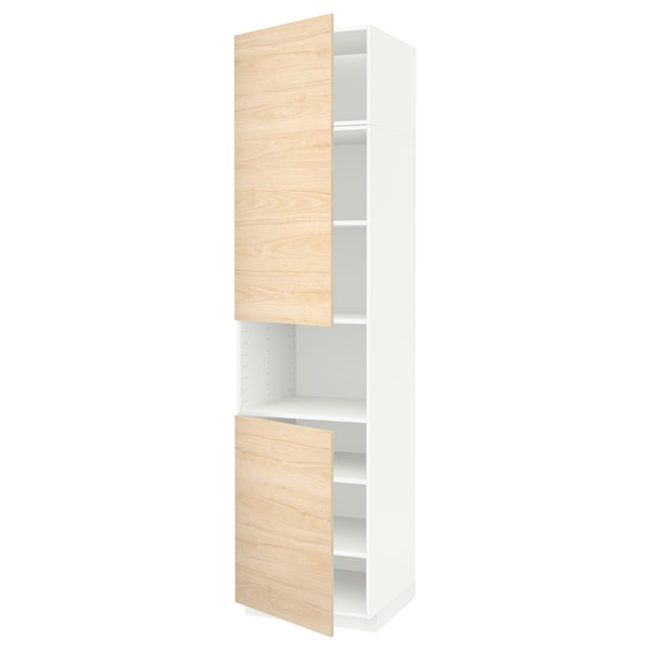 METOD Armoire micro-ondes+2ptes/tablette, blanc/Askersund effet frêne clair, 60x60x240 cm