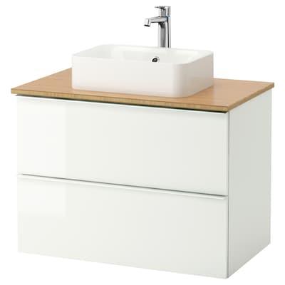 GODMORGON/TOLKEN / HÖRVIK Meuble lavabo av lav à poser 45x32, brillant blanc/bambou mitigeur lavabo Brogrund, 82x49x72 cm