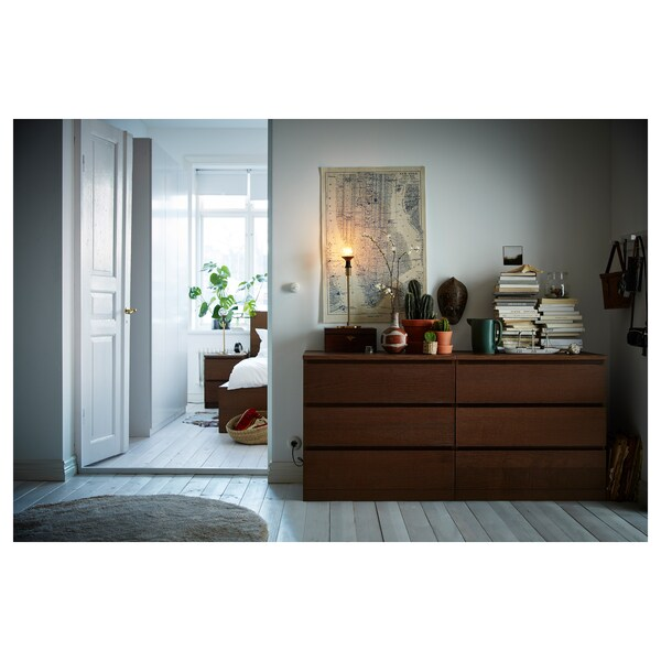 MALM Commode 6 tiroirs, teinté brun plaqué frêne, 160x78 cm