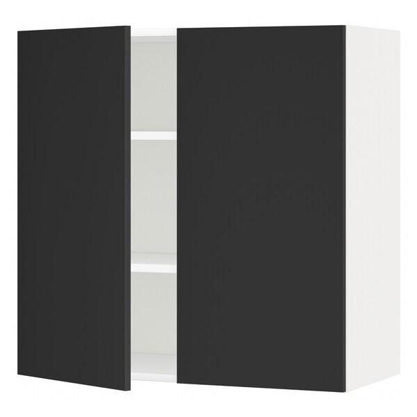 METOD Élément mural tablettes/2portes, blanc/Uddevalla anthracite, 80x80 cm