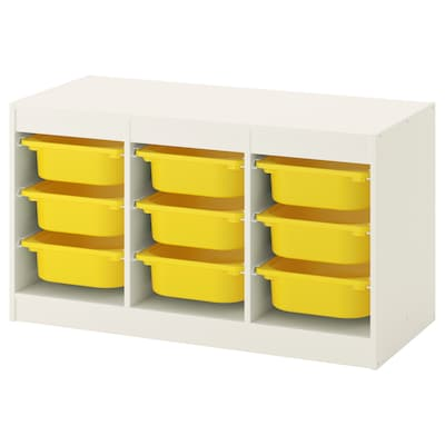 TROFAST Combi rangement+boîtes, blanc/jaune, 99x44x56 cm