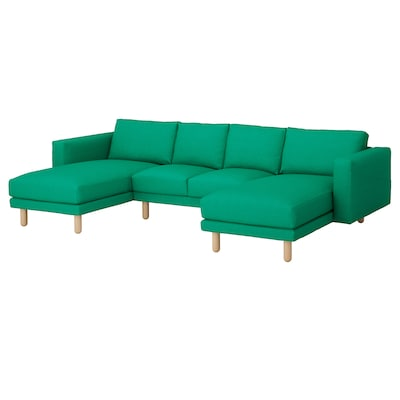 NORSBORG Canapé 4 places, avec méridiennes/Edum vert vif/bouleau