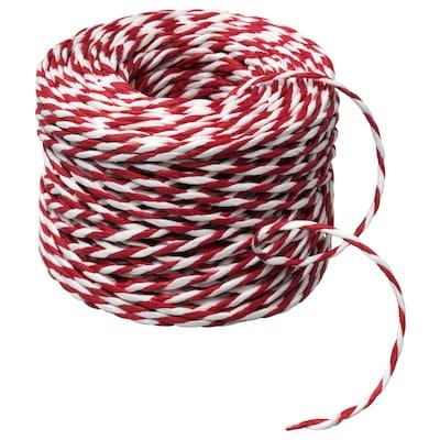VINTER 2020 Ficelle cadeau, blanc/rouge, 40 m